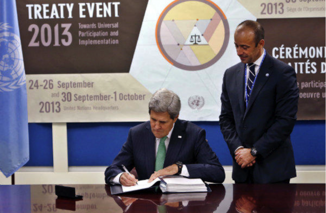 U.N. Arms Treaty, Obama had Secretary of State John Kerry