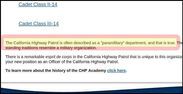 CHP California Highway Patrol Paramilitary Organization