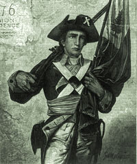"Minuteman holding musket and flag. Cover illustration from Harper's Weekly, July 15, 1876. Wood engraving by Speer, ""from a picture by George W. Maynard, in Memorial Hall, Philadelphia"